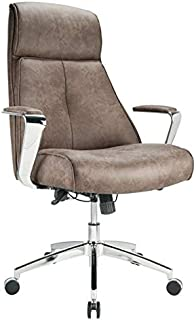 Realspace Modern Comfort Series Devley Leath-Aire High-Back Chair, Chestnut/Chrome