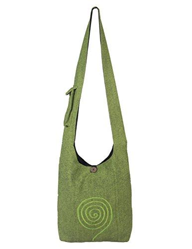 Vishes - Umhängetasche aus langlebiger, handgewebter Baumwolle mit aufgestickter Spirale - Unisex hellgrün