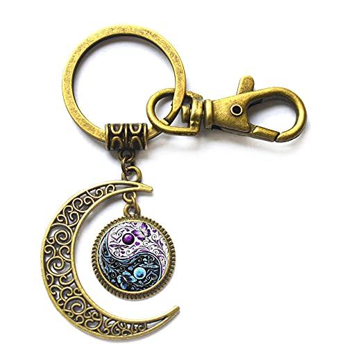 Nuevo Tai Chi mariposa cristal Cabujón llavero joyería plata cadena luna llavero mujeres hombres mejor regalo, PU352