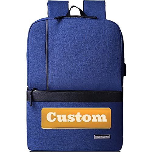 Mochila personalizada de personal personalizada Mujeres 15.6 Bolso portátil para hombres USB Mochila Chicas (Color : Blue, Size : One size)