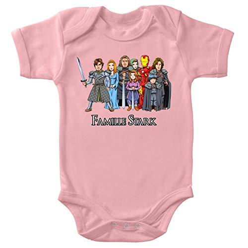 Body bébé manches courtes Filles Rose parodie Iron Man - Eddard, Catelyn, Robb, Sansa, Arya, Brian, Rickon et Tony Stark - La Famille Stark au complet ! (Body bébé de qualité supérieure de tail