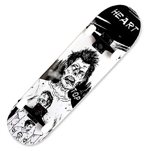 """WHOJS Skateboard 31""""x8"""" Double Kick Skateboard Maple Longboard Suitable for Adults, Teenagers, Children Complete Cruiser Bearing Capacity 330 Lbs Best Gift for Children 【Color and Pattern Selection】"""