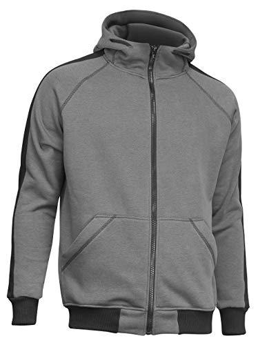 strongAnt Hoodie mit Reißverschluss für Herren und Damen warme Fleece Jacke mit Kapuze - L Grau-Schwarz