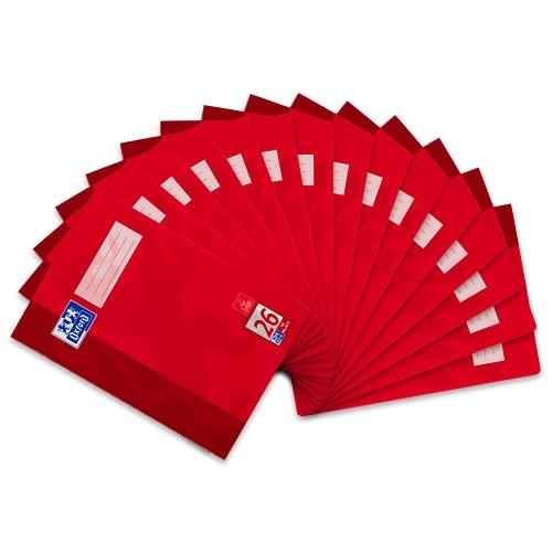 Oxford 384401626 Schule Schulheft A4, Lineatur 26, kariert mit Rand, 16 Blatt, hochwertiges 90 g/m² Papier, rot, 15er Pack