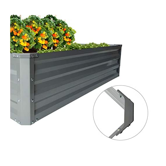 """zizin Galvanized Raised Garden Beds Kits Metal Elevated Planter Box Steel Vegetable Flower Bed Kit Bottomless for… 5 Anti-rust Galvanized Steel Planter Box: Metal raised garden bed Kit can stand the test of outdoor environment and time, not perishable and durable. Open-Bottom Garden Beds: Vegetable planter box prevents water from building up at its base,the root system of plants can grow naturally without any other restriction. Size: 47.2""""x35.4""""x11.8"""" (LxWxH), raised bed holds about 11 cubic feet soil, give the plants plenty of room to grow."""