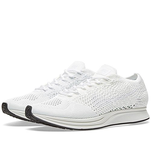 Nike Men Flyknit Racer Running (White/White-sail-Pure Platinum) Size 8.5 US