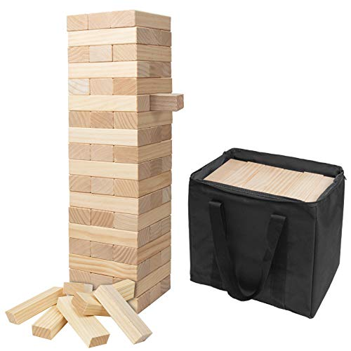 Nattork Giant Wooden Tumbling Timbers (Stacks to 5+ Feet) Blocks Game with Carrying case for Kids and Adults Play