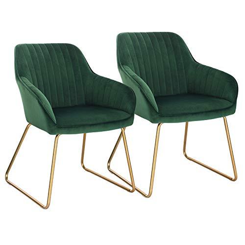 WOLTU Esszimmerstühle BH246dgn-2 2er Set Küchenstuhl Polsterstuhl Wohnzimmerstuhl Sessel mit Armlehne, Sitzfläche aus Samt, Gold Beine aus Metall, Dunkelgrün