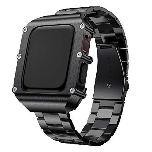 T-ENGINE Correa compatible con Apple Watch Series 6 44 mm, acero inoxidable con funda, funda enroscable, correa de repuesto para 40 mm Series 6 Series 5 Series 4 SE, 40mm, Acero inoxidable,
