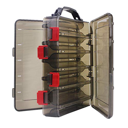 OriGlam Fishing Lure Tackle Box, Fishing Tackle Storage Trays, Double Sided 10 Compartments Waterproof, Organizer Case Boxes Containers, for Vest Casting Fly Fishing