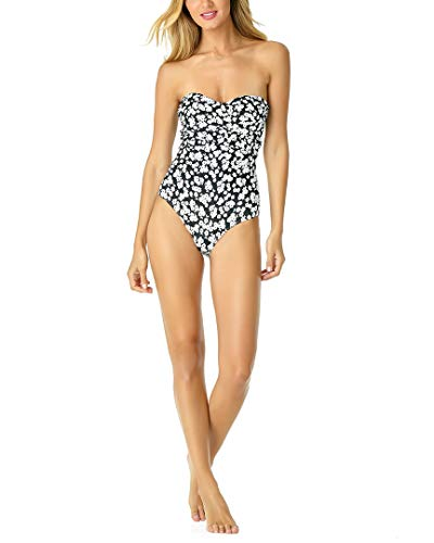 Anne Cole Women's Twist Front Shirred One Piece Swimsuit, Itsy Bitsy Ditsy Black/White Floral,...