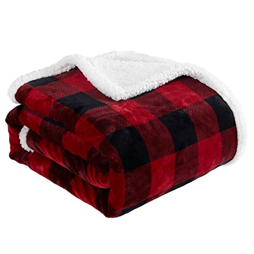 """Touchat Sherpa Red and Black Buffalo Plaid Christmas Throw Blanket, Fuzzy Fluffy Soft Cozy Blanket, Fleece Flannel Plush Microfiber Blanket for Couch Bed Sofa (60"""" X 70"""")"""