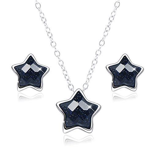 SIMPLGIRL 925 Sterling Silber Schwarzer Stern Ohrstecker Halskette Set 14 K platiniert Glitzer Lila Sand Frosted Mystic Pentagramm Ohrringe für Frauen