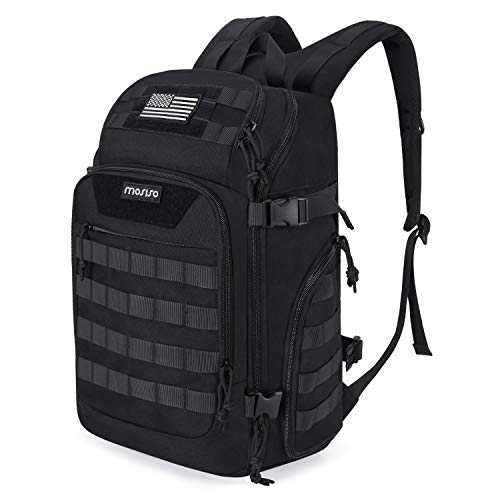 MOSISO 30L Tactical Backpack, Military Daypack 3 Day Assault Molle Rucksack Shoulder Bag for Outdoor Sports Hiking Hunting Fishing Camping Training with Laptop Compartment&USB Charging Port, Black