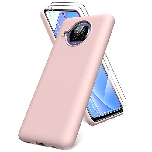 Oududianzi Cover per Xiaomi Mi 10T Lite 5G,Pellicola Protettiva in Vetro Temperato, Silicone Liquida Case Molle di TPU, Gomma Gel di Silicone Liquida Antiurto Custodia per Xiaomi Mi 10T Lite 5G -Rosa