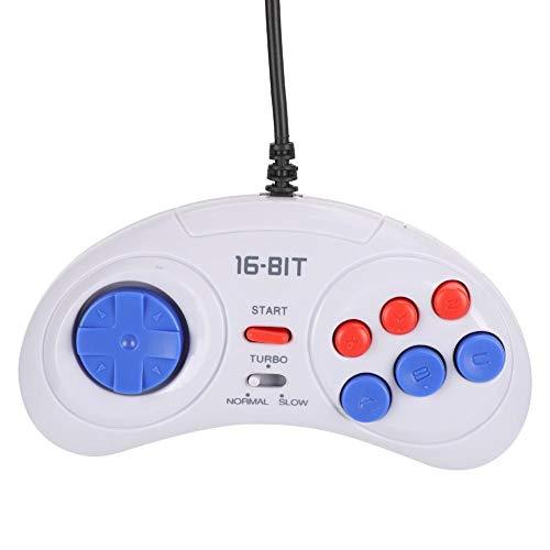 Kabelgebundener Gamepad-Controller für Sega-Spielekonsole 16-Bit-Ergonomischer 9-Pin-Gaming-Controller mit Turbofunktion (weiß)