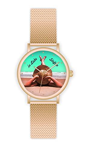 Memories - Reloj de pulsera personalizado con su foto de 40 mm de diámetro, regalo de foto, reloj de oro rosa para amigos y familia, fabricado en Alemania, 2 días de entrega