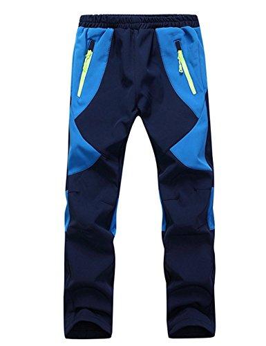 Echinodon Kinder Softshellhose mit Fleecefütterung Wasserdicht Winddicht Atmungsaktiv Warm Regenhose Jungen Mädchen Trekkinghose Skihose Blau XXL