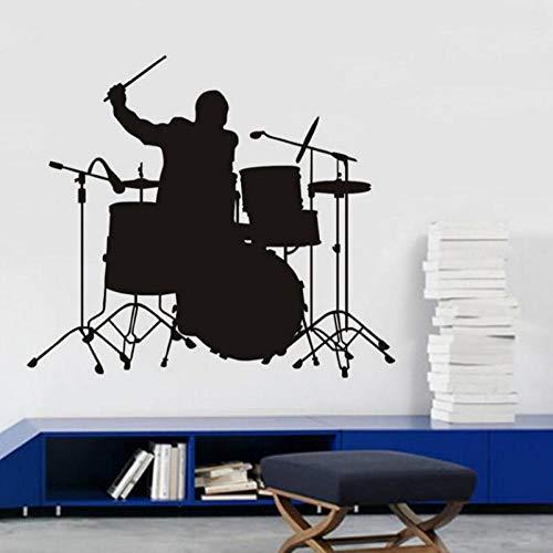 Wandtattoo Schlagzeug Set Silhouette Wandaufkleber 56x64cm Geeignet für Wohnzimmer Schlafzimmer Küche Kinderzimmer Familiendekoration Tapete