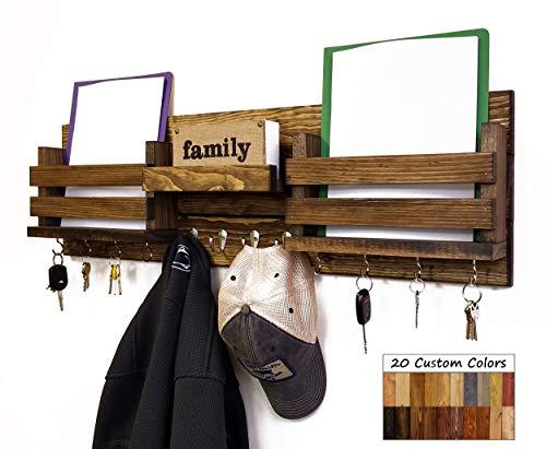 Newtown Farmhouse Large Family Double Bin Wall Mounted Organizer, Shelf with Hooks - Key Hooks - Folder Holder - Paper Bin - 20 Colors