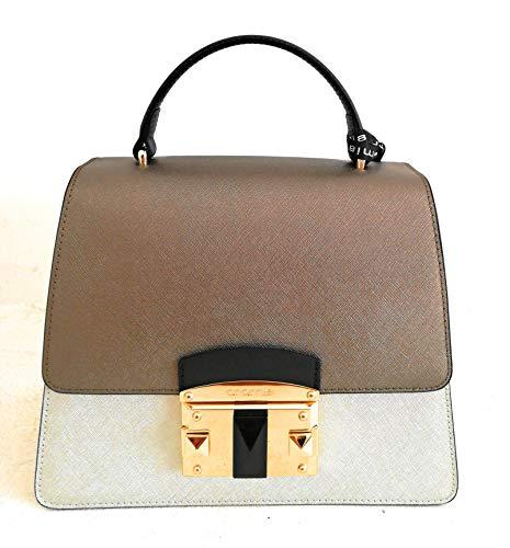 Cromia Damen Handtasche Leder mit Schultergurt Linie Bag IT Saffiano 1403875 Farbe Silver Größe 24 x 19 x 11,5 cm