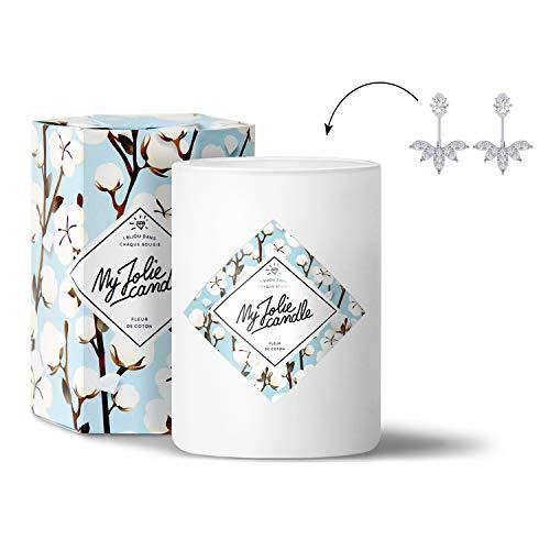 MY JOLIE CANDLE - Vela perfumada con una Joya Sorpresa en su Interior - Pendientes - Plata - Flor de algodón - Cera Natural - 330g - Tiempo de combustión : 70 Horas