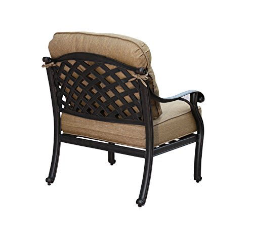 Darlee Cast Aluminum Nassau Club Chair with Cushions (Set of 4), Antique Bronze