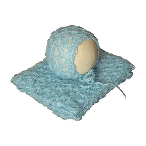 2-teiliges Foto-Requisiten-Set für Neugeborene, flauschiges Stretch-Strickgewebe, Mütze, Decke, Set zur Verwendung