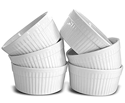 Mrs.Souffle 10 oz, White Porcelain Souffle Ramekins, Perfect 10 Ounce Bakeware Set of 6, Best Dishes for Creme Brulee, Pudding, Desserts, and More