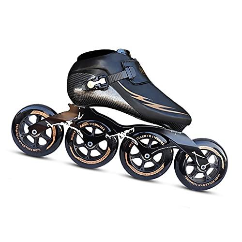 YDHNB Patines en Línea para Niños con Termoplásticos Profesionales Fibra de Carbon Inline Skates Rollerblade de Transpirable para Infantiles y Adolescentes,Negro,34