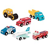 Battat - Wooden Vehicles – Miniature Wooden Toy Cars & Trucks Including Toy Airplane, Steamroller, & Police Car for Toddlers 3-Years-Old & Up (6-Pcs)