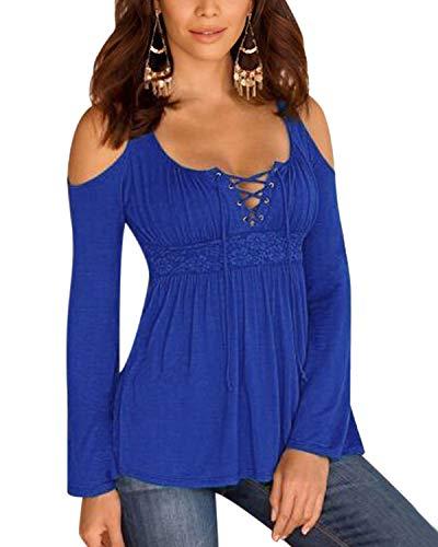 YOINS Sexy Schulterfrei Oberteil Damen Langarm Off Shoulder Bluse Oberteile für Damen Top Blusen Z-Hellblau EU36-38