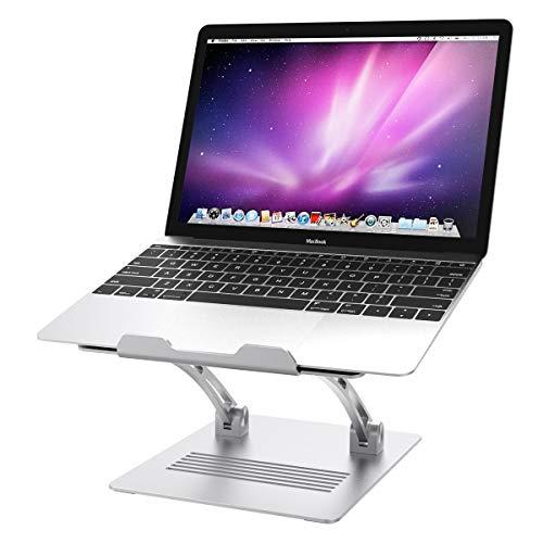 MoKo Soporte de 11'-17' para Ordenador, Universal Holder Multi-Ángulo Adjustable de Aluminio para PC Portátil de Escritorio para MacBook Pro/Air, Acer, ASUS, HP, Sony, DELL XPS, Lenovo - Plata