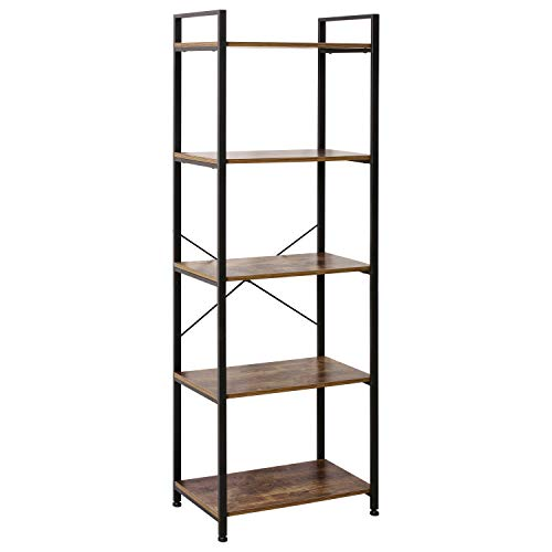 IRONCK Bookshelf, 5-Tier Ladder Shelf 110lbs/shelf Vintage Industrial Style Bookcase for Home Decor, Office Decor