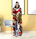ALISISTER Hooded Blanket Adult Women Men 3D Christmas Santa Clus Cat Sherpa Plush Fleece Wearable Throw Blanket 60 X 80 Inches Xmas Costume Home Winter Super Soft Lightweight for Bed Room