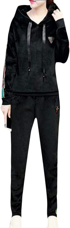 Alion Women Fashion Casual Velvet Sweatshirts and Pants Tracksuit