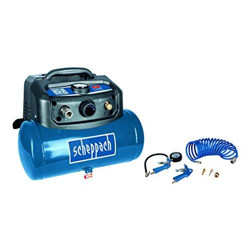 Scheppach HC06 Compressor (1200 W, 6 L, aanzuigvermogen 192 l/min, 8 bar, olievrij, ergonomische bouwvorm, voeten, draagbaar) incl. uitgebreide set accessoires