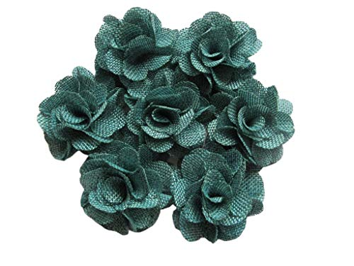YYCRAFT 15pcs Burlap Flower Roses,3D Fabric Flowers for Headbands Hair Accessory DIY Crafts/Wedding Party Decorations/Scrapbooking Embellishments(2.25') (Teal)