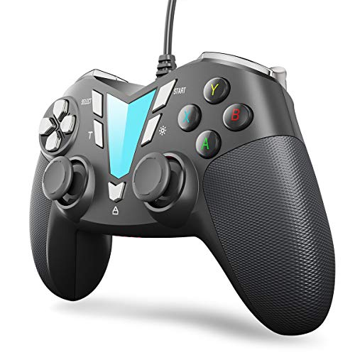 IFYOO V911 Wired PC Controller USB Gaming Gamepad Joystick für Windows 10/8/7/XP(Computer & Laptop), Steam, Android und PS3, 3M USB Kabel, Dual-Vibration, XInput/DInput - Silber Schwarz