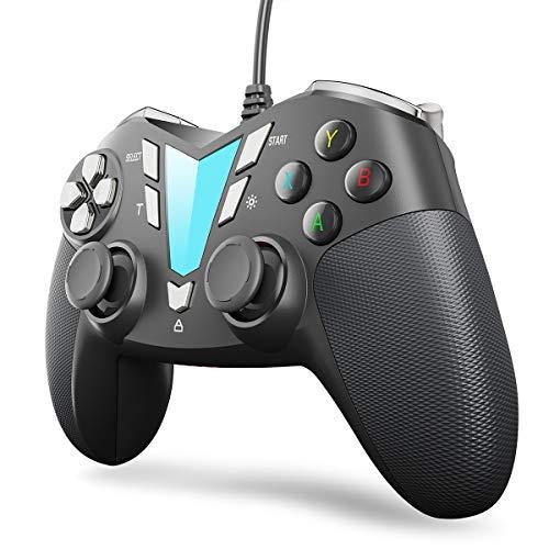 IFYOO V911 - Mando de juego con cable para PC y ordenador portátil (Windows 10/8/7/XP, vapor), Android y PS3, cable USB de 3 m, color plateado y negro