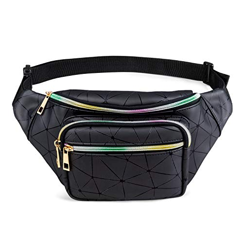 Fanny Packs for Women & Men, Waist Bag Fashion Fanny pack for Girls Teen Boys With 5 Pouches, Black Belt Bags Waist Pack, Casual Cute Hip Bum Bag for Travel, Running, Hiking, Festival, Concert