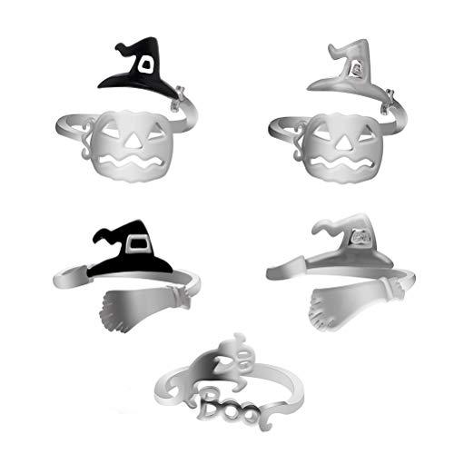 FENICAL 5pcs Bruja de Halloween rring Anillo de Linterna de Calabaza joyería de Fiesta de Halloween