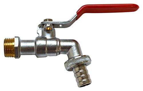 S&M Grifo Manguera Entrada Agua 1/2' con Toma para candado y Salida 3/4', Cromado, 3 x 9,5 x 16 cm