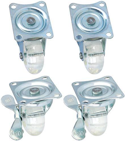 com-four® 4X Lenkrollen mit Schwenklager für Möbel, transparente Transportrollen mit Anschraubplatte und Kugellager - 2 der Rollen sind mit Bremse (04 Stück - 50 mm 120 kg mit Schwenklager)