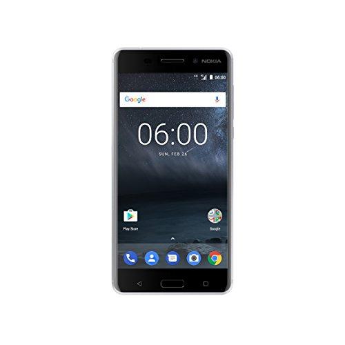 Nokia 6 Smartphone (13,9 cm (5,5 Zoll), 32GB, 16 Megapixel Kamera, Android 7.0, Single Sim) silber/weiß, version 2017