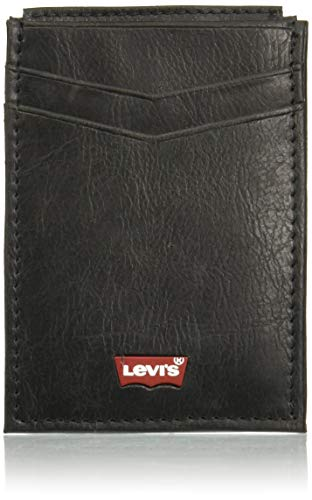 Levi's Front pocket wallet W/Magnetic clip Cinturón para Hombre, color Negro, PZ