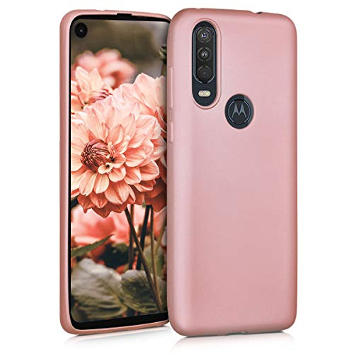 kwmobile TPU Silicone Case Compatible with Motorola One Action - Soft Flexible Protective Phone Cover - Metallic Rose Gold