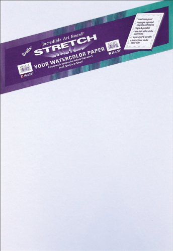 """Grafix IAB2432 Durable, Light-Weight, Water-Resistant, Reusable ½"""" Foam Core Art Board, for Stretching Watercolor Paper, 24' X 32', White"""
