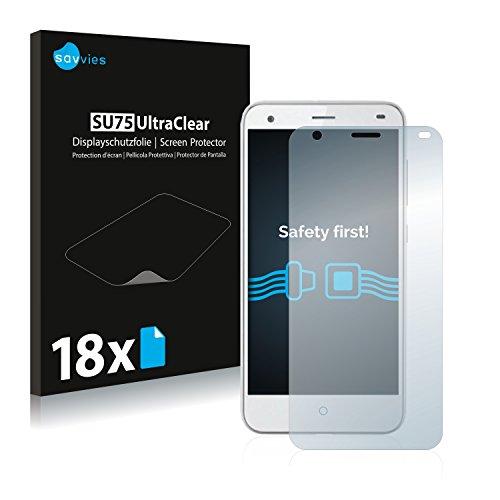 Savvies 18x Schutzfolie kompatibel mit ZTE Blade S6 Bildschirmschutz-Folie Ultra-transparent