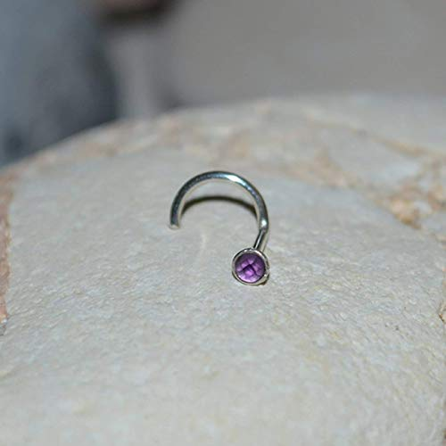 2mm Amethyst Nose Stud - Silver Nose Piercing - Helix Jewelry - Cartilage Earring - Tragus Ring - Nose Ring - Conch Jewelry 20g
